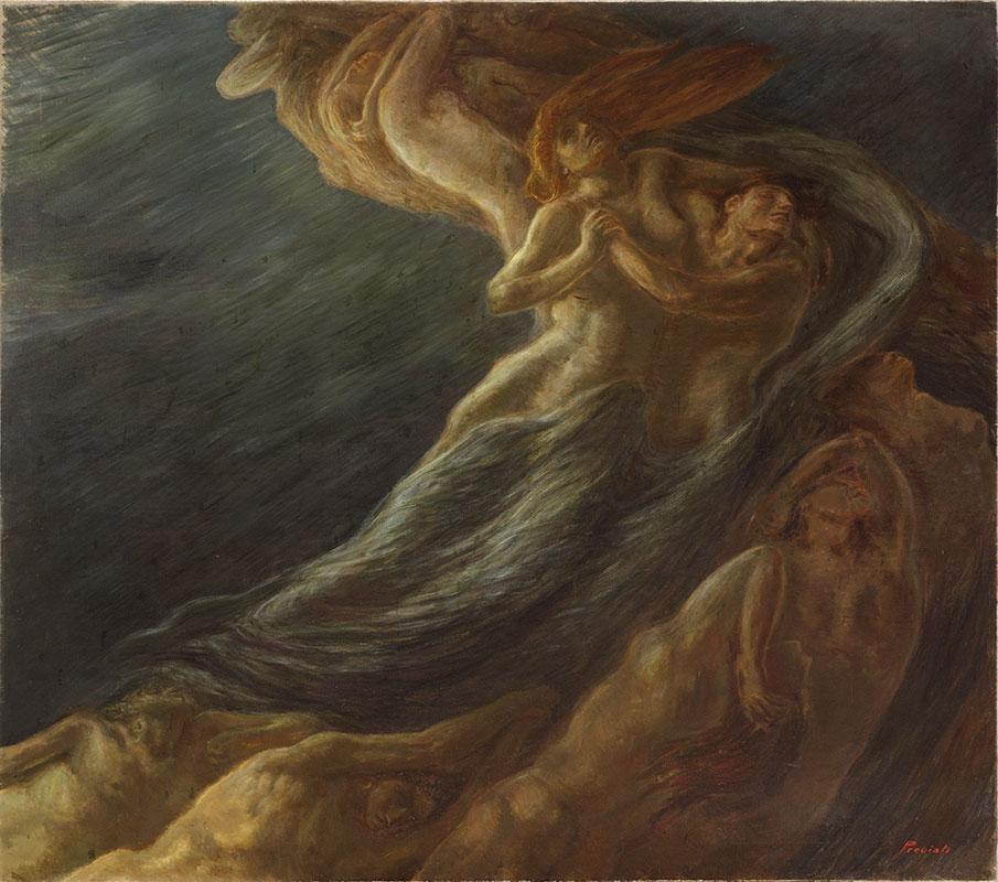Gaetano Previati Paolo e Francesca, 1909, Olio su tela, cm 230 x 260, Ferrara, Museo dell'Ottocento
