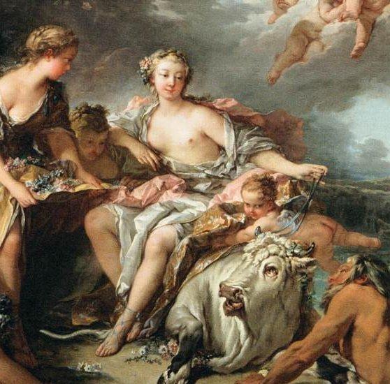 La tavolozza settecentesca di Boucher ci restituisce il Rattto di Europa in una dimensione delicata e gioiosa, spumosa e friabile. Una sorta di tableau vivant, Una rappresentazione teatrale all'aperto