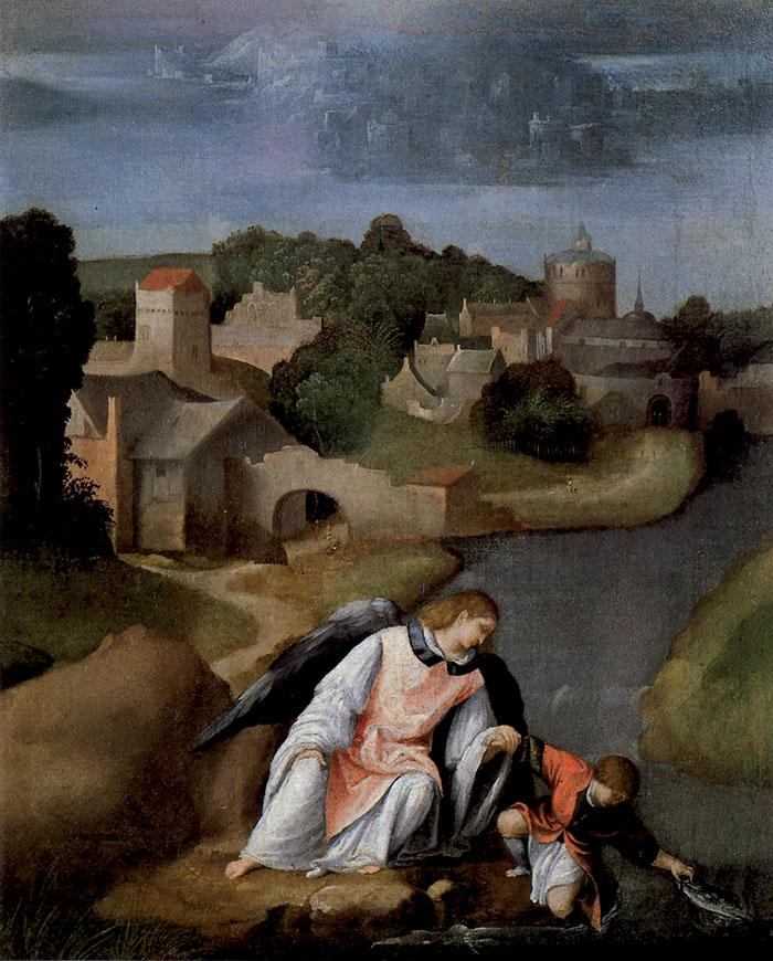 Moretto, Tobiolo, con l'arcangelo Gabriele, cattura il pesce nel fiume Tigri
