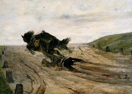 Giovanni Fattori, Lo staffato, 1880.l dipinto rappresenta una scena di cruda realtà in movimento. Il cavallo, forse spaventato da un qualcosa di esterno, si suppone uno sparo, si lancia in un galoppo furioso trascinandosi dietro il suo povero cavaliere che è rimasto impigliato con un piede sulla staffa. Il dipinto può essere diviso in due fasce orizzontali: la terra e il cielo senza il sole. La scena drammatica si svolge nel silenzio di una natura solitaria e indifferente. Quando il cavallo sarà scomparso dalla scena, nulla ci potrà ricordare quanto accaduto se non le tracce di sangue miste ai sassi lungo il sentiero.