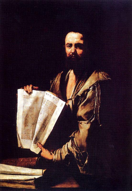 Uno dei filosofi o pensatori dipinti da Jusepe de Ribera, detto lo Spagnoletto. L'immagine potrebbe rievocare Euclide