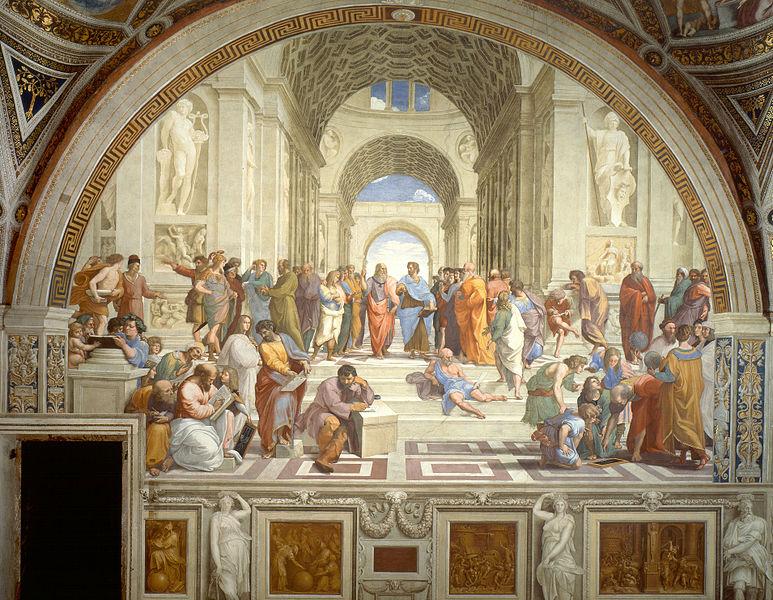 """La Scuola di Atene è un affresco (770×500 cm circa) di Raffaello Sanzio, databile al 1509-1510 e situato nella Stanza della Segnatura, una delle quattro """"Stanze Vaticane"""", poste all'interno dei Palazzi Apostolici. L'opera di Raffaello ricorda l'unità del pensiero, garantita dalla sintesi compiuta dai filosofi cristiani. Da sottolineare, pur in una visione ottimistica della realtà, importanza assegnata a intellettuali, artisi e filosofi, durante il Rinascimento. Fu la svolta della Controriforma a creare difficoltà tra gli intellettuali"""