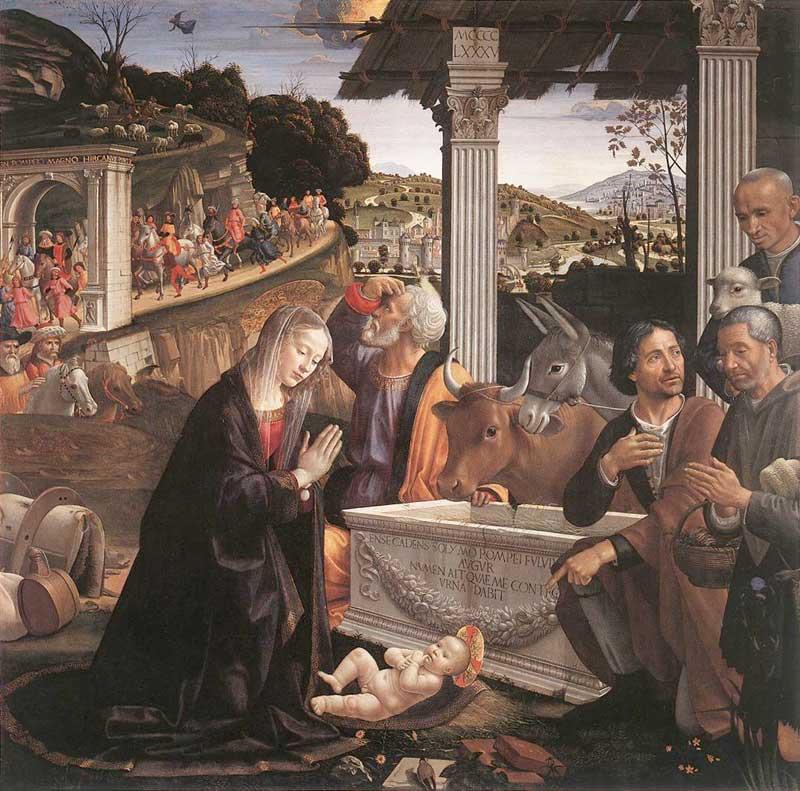 Domenico Ghirlandaio, Natività. L'artista assegna al bue e all'asino una collocazione centrale