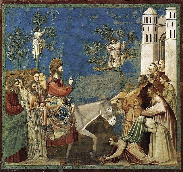 Giotto, L'accesso di Cristo a Gerusalemme,Padova, Scrovegni, tecnica sconosciuta, 200 x 185 cm