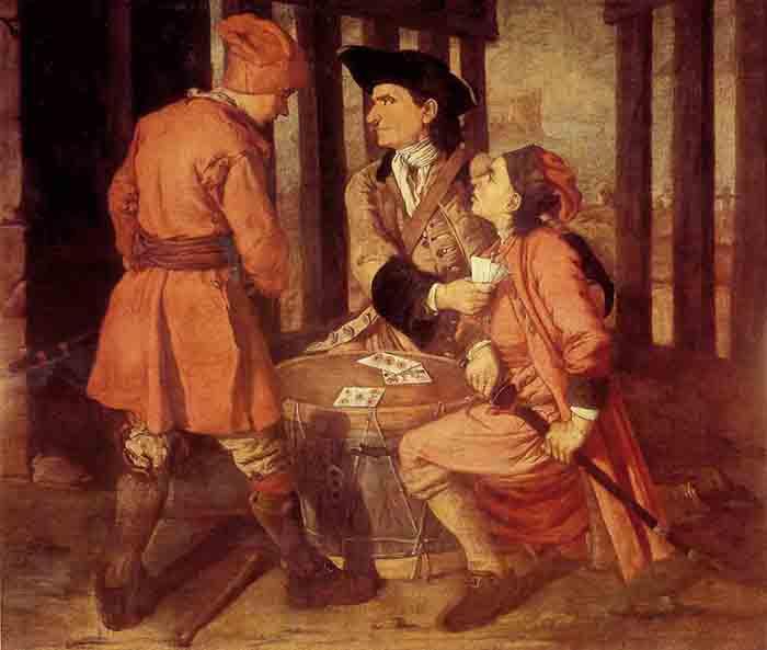 Pitocchetto, Soldati che giocano acarte