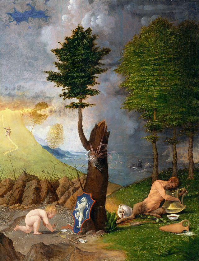 Lorenzo Lotto, L'Allegoria della Virtù e del Vizio,  coperta protettiva del Ritratto del vescovo Bernardo de' Rossi. olio su tavola, datato 1505, 56,5x42,2 cm,e National Gallery of Art di Washington