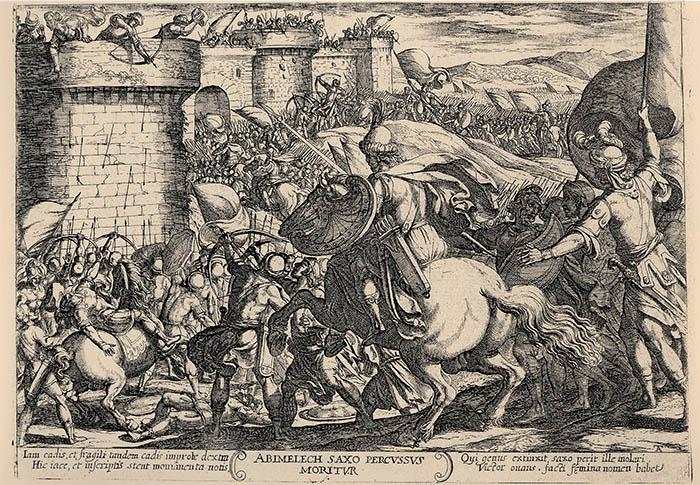 Antonio Tempesta, Abimelech muore colpito da una pietra