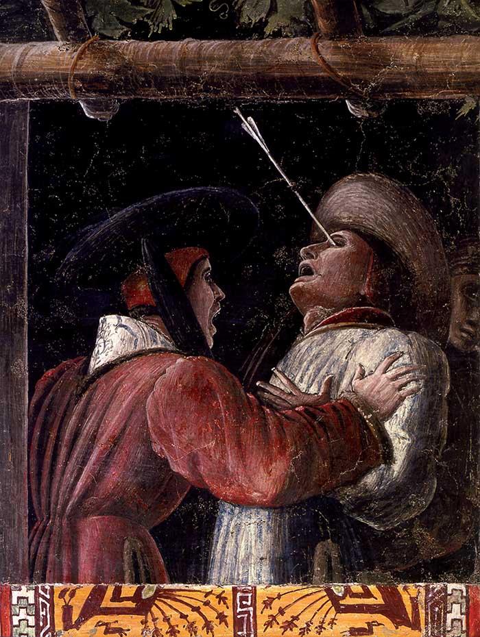 Andrea Mantegna, Martirio di san Cristoforo (particolare). Padova, cappella Ovetari