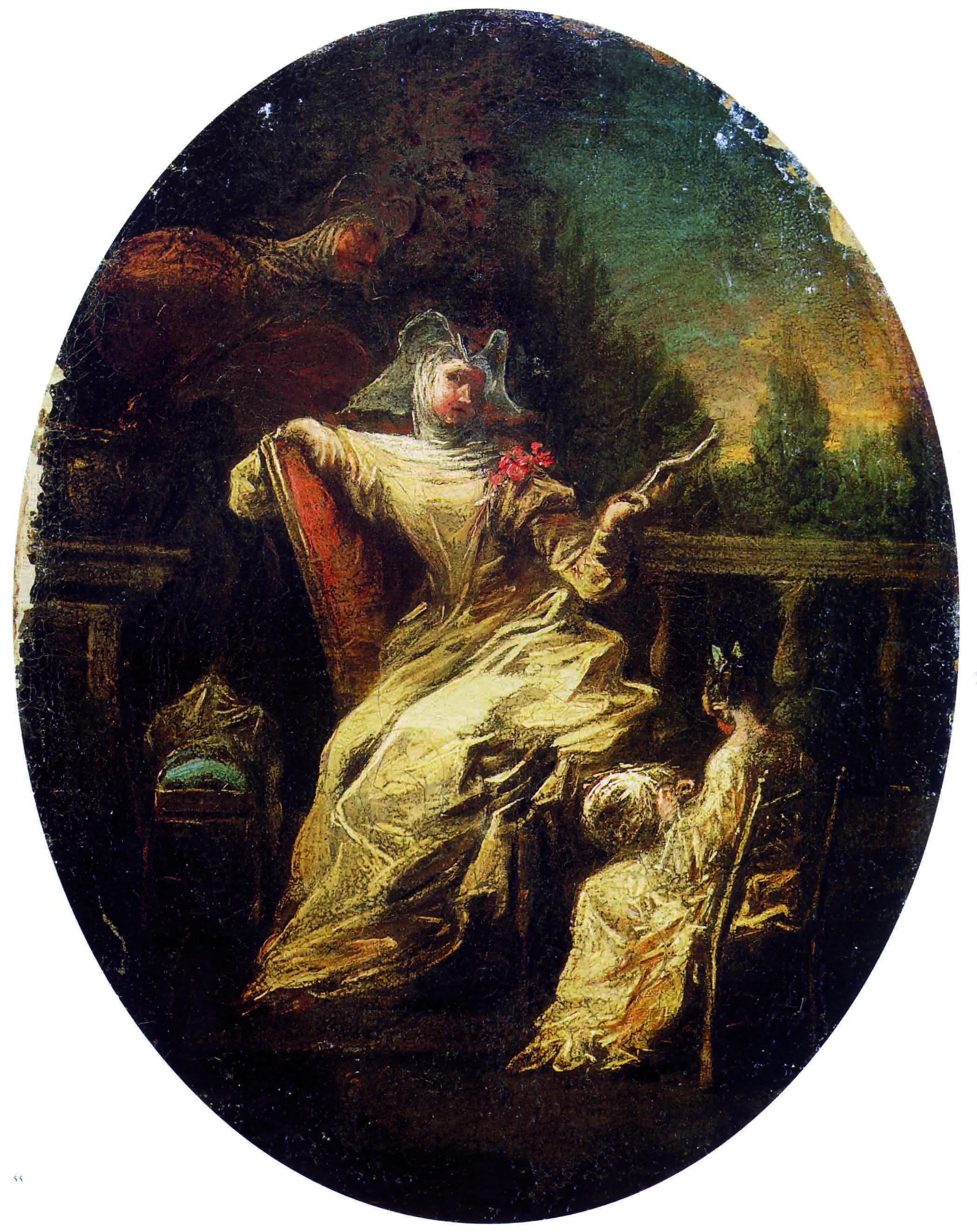 Alessandro Magnasco, Monache in giardino, 1740-45. L'atteggiamento languido della monaca discinta, adagiata in modo scomposto su  una sedia, non è molto lontano da quello della cortigiana più disinibita