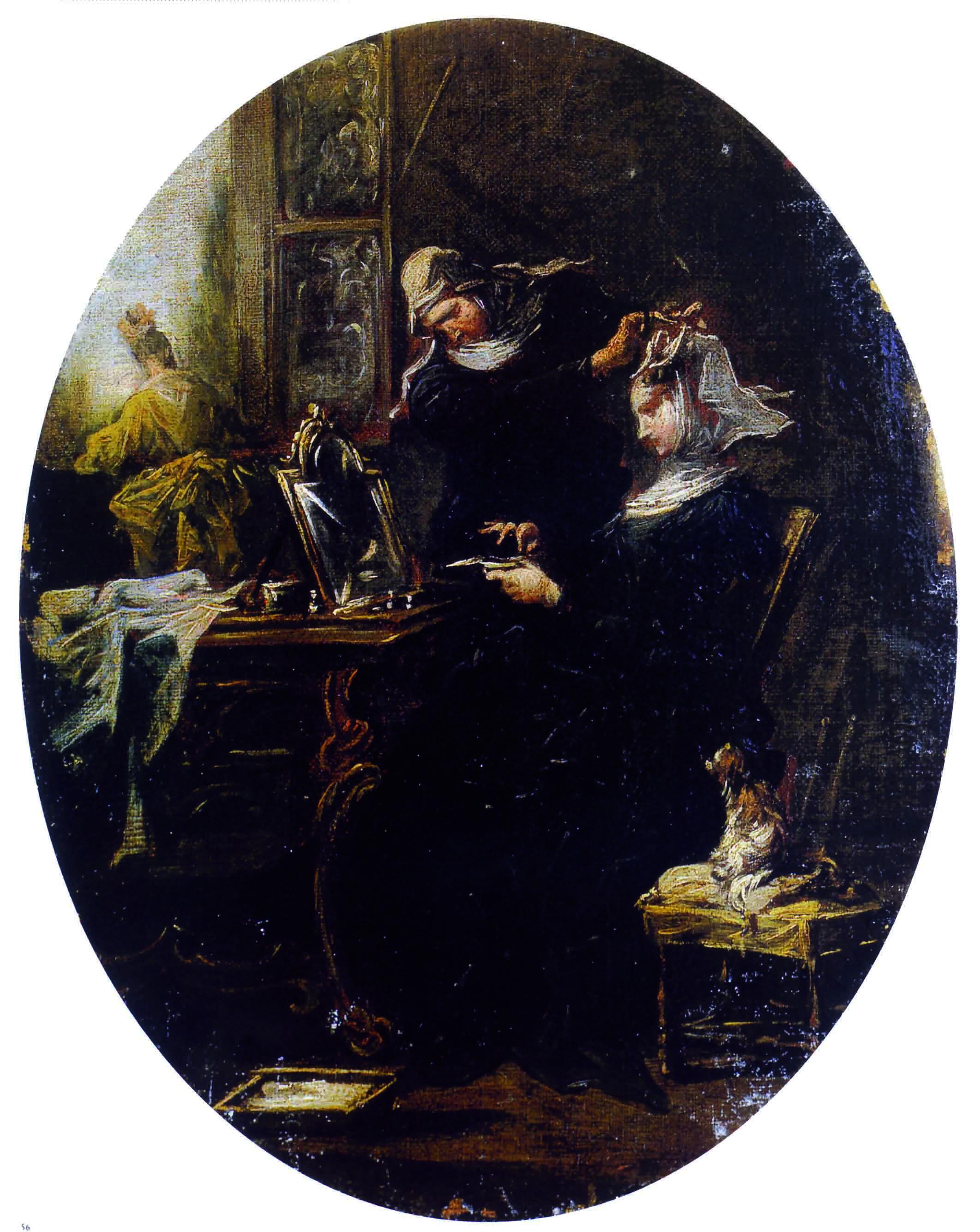 Alessandro Magnasco, L'acconciatura, 1740-45. Seduta di fronte ad uno specchio, una suora si fa sistemare l'acconciatura. La vanità delle protagoniste non è decisamente appropriata all'abito monacale: un abito immaginario, inventato dall'artista per non incorrere nelle ire degli ordini religiosi