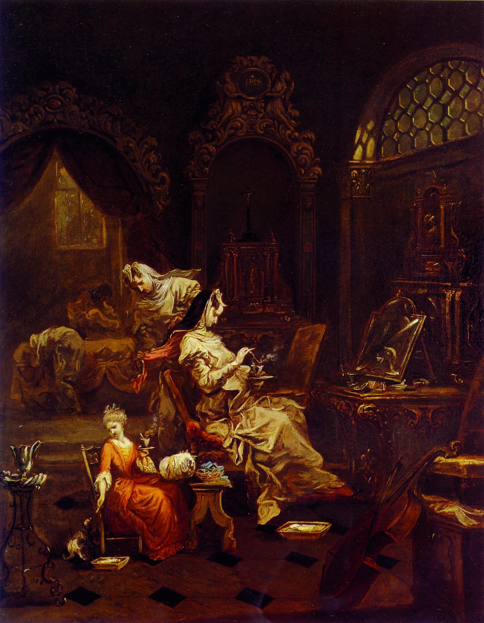 Nella pagina accanto: Alessandro Magnasco, Cioccolata, 1740-45. In un sontuoso interno che ha ben poco a che fare con la cella di un monastero (è più simile ad un boudoir), una religiosa assapora una tazza di cioccolata calda in compagnia di un'educanda e di alcune consorelle impegnate in lavori domestici