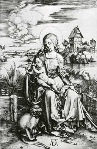 Un'incisione di Albrecht Dürer. La scimmia legata rappresenta gli istinti primordiali tenuti a freno