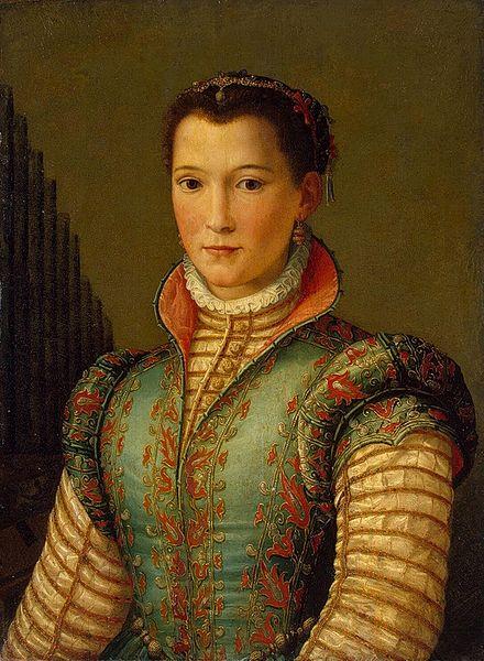 AGNOLO ALLORI detto il BRONZINO, Ritratto di Eleonora di Toledo, 1545, cm. 59 x 46, olio su tavola, Praga, Narodni Galerie