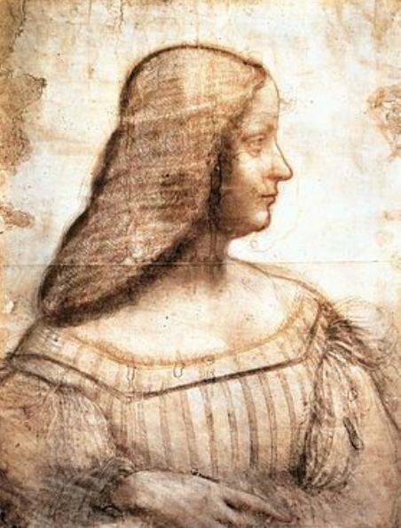 LEONARDO DA VINCI, Ritratto di Isabella d'Este,1500 ca., carboncino, sanguigna e pastello giallo su carta, cm.63 x 46, Parigi, Museo del Louvre