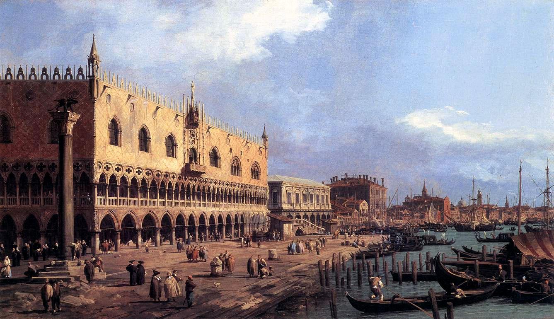 """Veduta di Canaletto. Il maestro si aggirava per la città con una sorta di gigantesca """"macchina fotografica """"senza pelllicola, una camera ottica"""