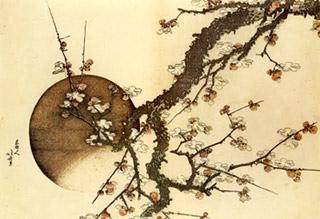 Il susino e la luna, opera del pittore giapponese Hokusai (1803). La precisione del tratto disegnativo e l'atemporalità delle opere giapponesi, attrae profondamente Van Gogh