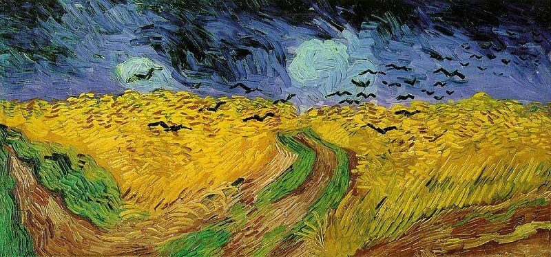 Campo di grano con corvi, luglio 1890, è forse l'ultimo quadro del maestro. Qui s'accresce l'atinaturalismo e ogni colore è violento. La stesura è più turbinosa. I tratti di colore si allargano per seguire il sentimento suscitato dalla visione della natura