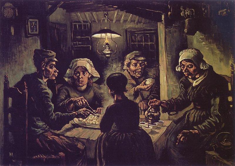 I mangiatori di patate, opera di Van Gogh, dipinta nel 1885 porima del trasferimento a Parigi. Dal quadro emergono alcuni elementi fondamentali del Van Gogh pre-francese: la tavolozza cupa e i contrasti di luce, tipici degli artisti olandesi del Seicento; un'attenzione al dato sociale e a Millet, che si attenuerà in Francia; una forte tendenza espressionista manifestata dal potenziamento espressivo delle linee del volto dei contadini