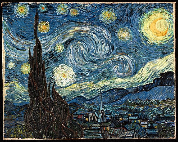 Notte stellata, del 1889, evidenzia il superamento d'ogni suggestione impressionista, in direzione espressionista. La realtà viene potenziata e trasfigurata da Van Gogh, con vortici di stelle e di nubi, ottenuti con colori violenti,stesi a tratteggio direzionale