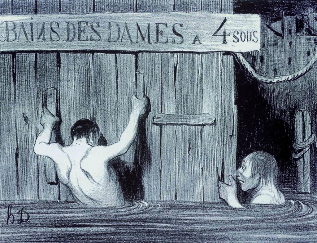 Le belle fanciulle spiate nellacqua al bagno dal grande daumier