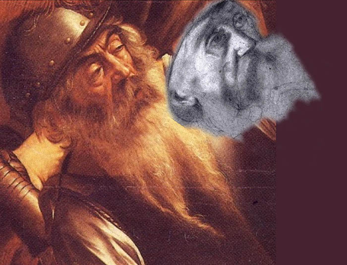 Il volto del disegno trovato a Milano avvicinato a quello del vecchio soldato della Conversione di Saulo, mostra una stupefacente somiglianza. Altri cento disegni trovano riscontro, secondo la tesi di Curuz e Conconi, in 84 opere della maturità