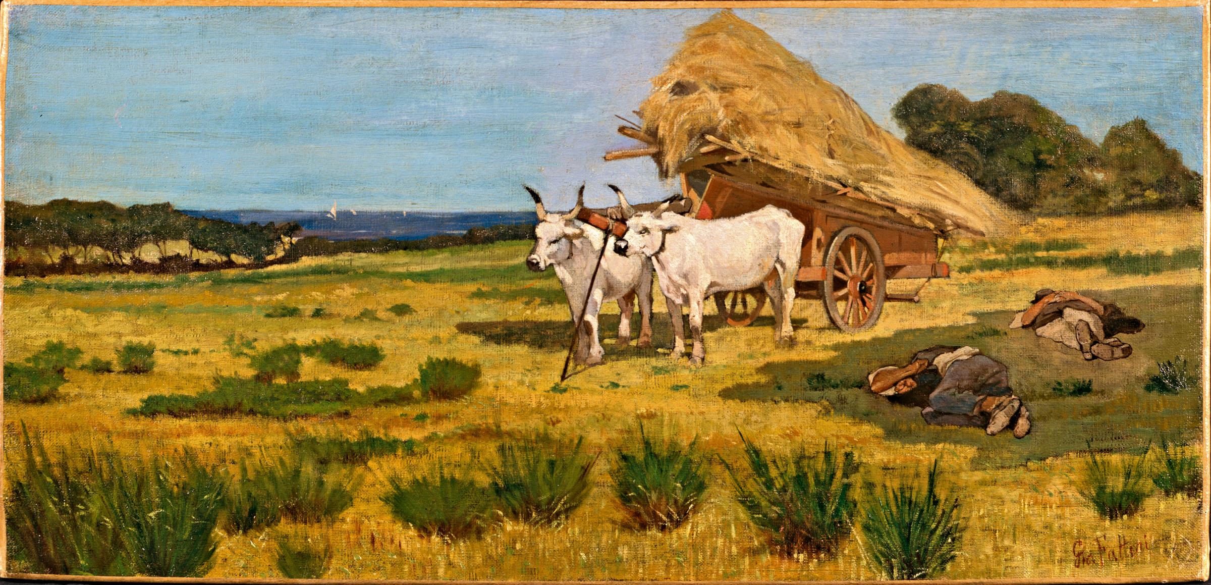Giovanni Fattori, Riposo in Maremma, 1875 c., Olio su tela, 35 x 72,5 c