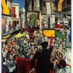 Renato Guttuso: Comizio di quartiere, 1975