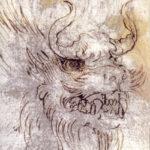 Il grande maestro conchiuse con l'inchiostro l'immagine di un dragone che gli veniva suggerita da una macchia sul foglio. L'intervento risulta evidente perché Leonardo non occupa l'intera superficie sporca, ma una sola parte, attraverso una sovrapposizione dei propri segni, che definiscono in una forma leggibile le vaghe linee sottostanti