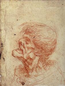 leonardo-studio di testa grottesca di uomo di profilo