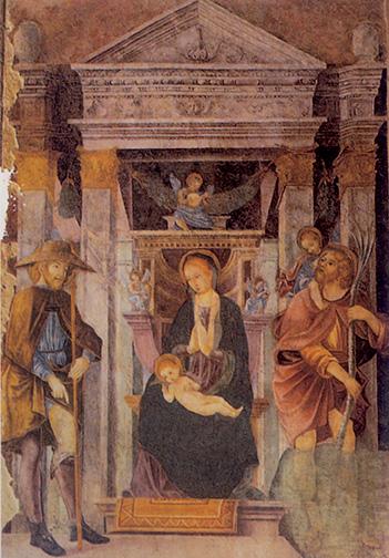 Paolo da Caylina il vecchio, Madonna tra i santi Rocco e Cristoforo