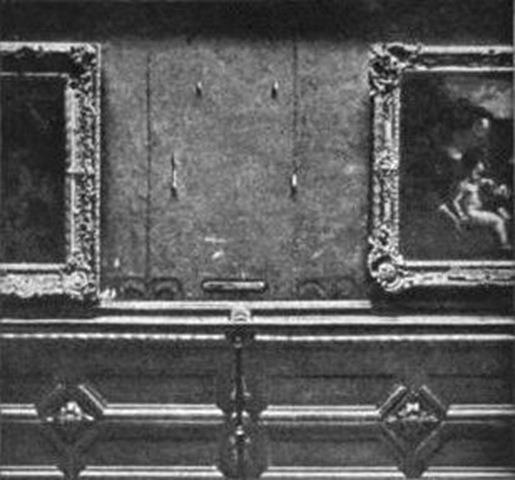 Il vuoto lasciato dalla Gioconda, dopo il furto compiuto da Peruggia nel 1911