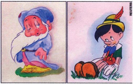 Mammolo e Pinocchio sempre disegnati da Hitler