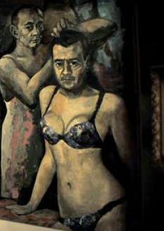 Putin, in sottoveste, e Medveved in intimo femminile nel quadro contestato