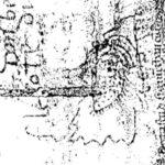 Il disegno del volto realizzato da san Francesco, alla base della croce-tau. L'opera è ruotata di novanta gradi.