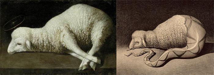L'agnus Dei di Zurbaran e, a destra, l'agnus serpens (penna biro su carta) di Marcello Carrà
