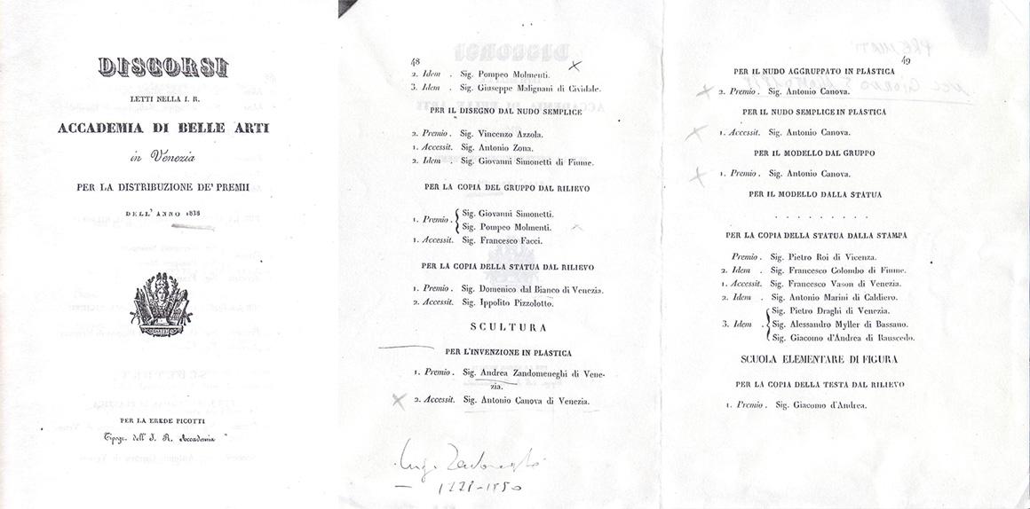Pagine di un opuscolo dell'Accademia di Belle Arti di Venezia, dove Antonio Canova II appare tra i premiati