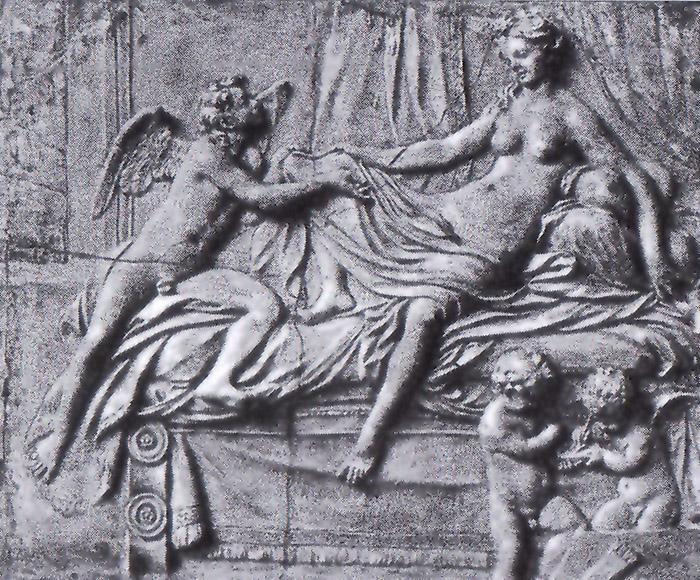 """Copia della Danae di Correggio. Il rilievo,  oggi nei Musei di Berlino, è stato attribuito al primo Canova.  All'""""altro"""" Canova lo assegna invece Lionello Puppi"""