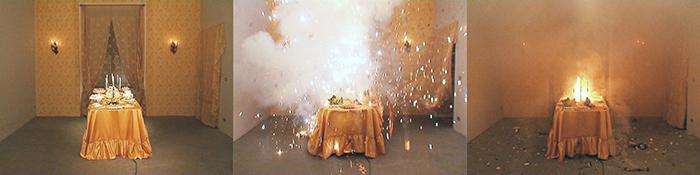 Loredana Longo, Esplosion#8 sweets, 2006, installazione video, courtesy Francesco Pantaleone, Palermo