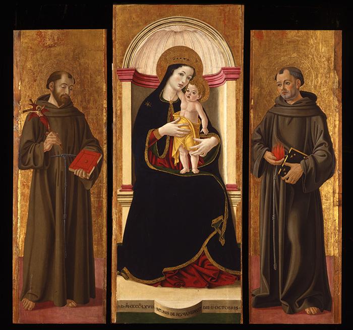 Subiaco, chiesa di San Francesco, Madonna con il Bambino e i santi Francesco e Antonio, trittico, 158x63 (tavola centrale), 142x41 (laterali)