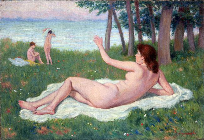 Federico Zandomeneghi, Femme nue sur l'herbe, 1907 circa, olio su tela, 38x55 cm