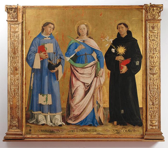 Montefalco, Museo di San Francesco, Antoniazzo Romano, San Vincenzo, Santa Caterina, Sant'Antonio da Padova, tavola, 164x173