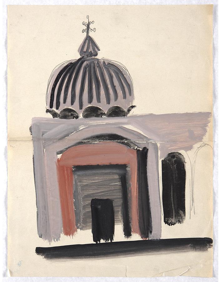 Mario Sironi, Studio della basilica di San Marco a Venezia, 1937-38 c. tempera e matita su carta, mm 420 × 311.  Eredità Sironi