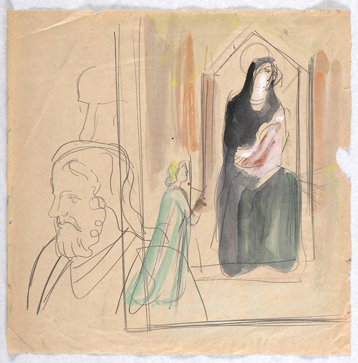 Mario Sironi, Studio dalla Madonna di Ognissanti di Giotto (Firenze, Uffizi).  1935-40 c. matita, tempera e acquarello su carta, mm 430 × 436.  Eredità Sironi
