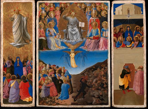Beato Angelico,Trittico con Ascensione, Giudizio Universale e Pentecoste