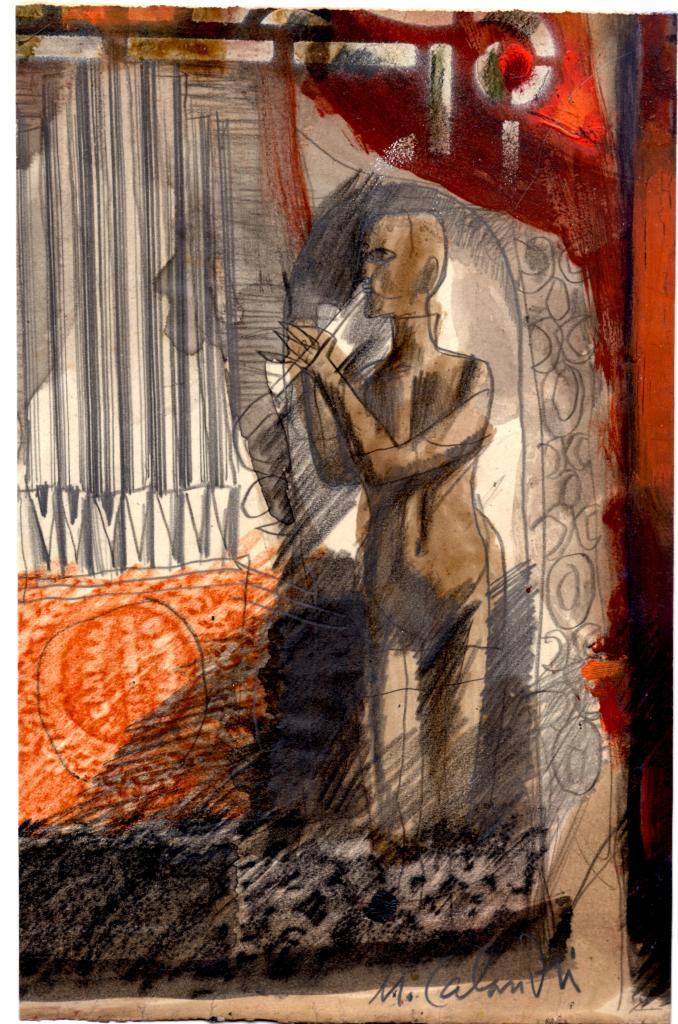 Calandri, Automa, 1963, tecnica mista su carta  cm. 28 x 20