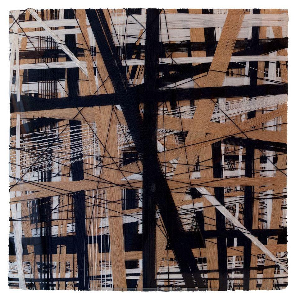 Carla Mura, Guardando alto, filo-di cotone su legno, 2010