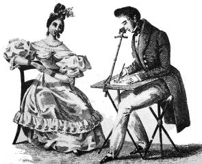 Lo strumento di rilevazione ottica per pittori, in una stampa della metà dell'Ottocento