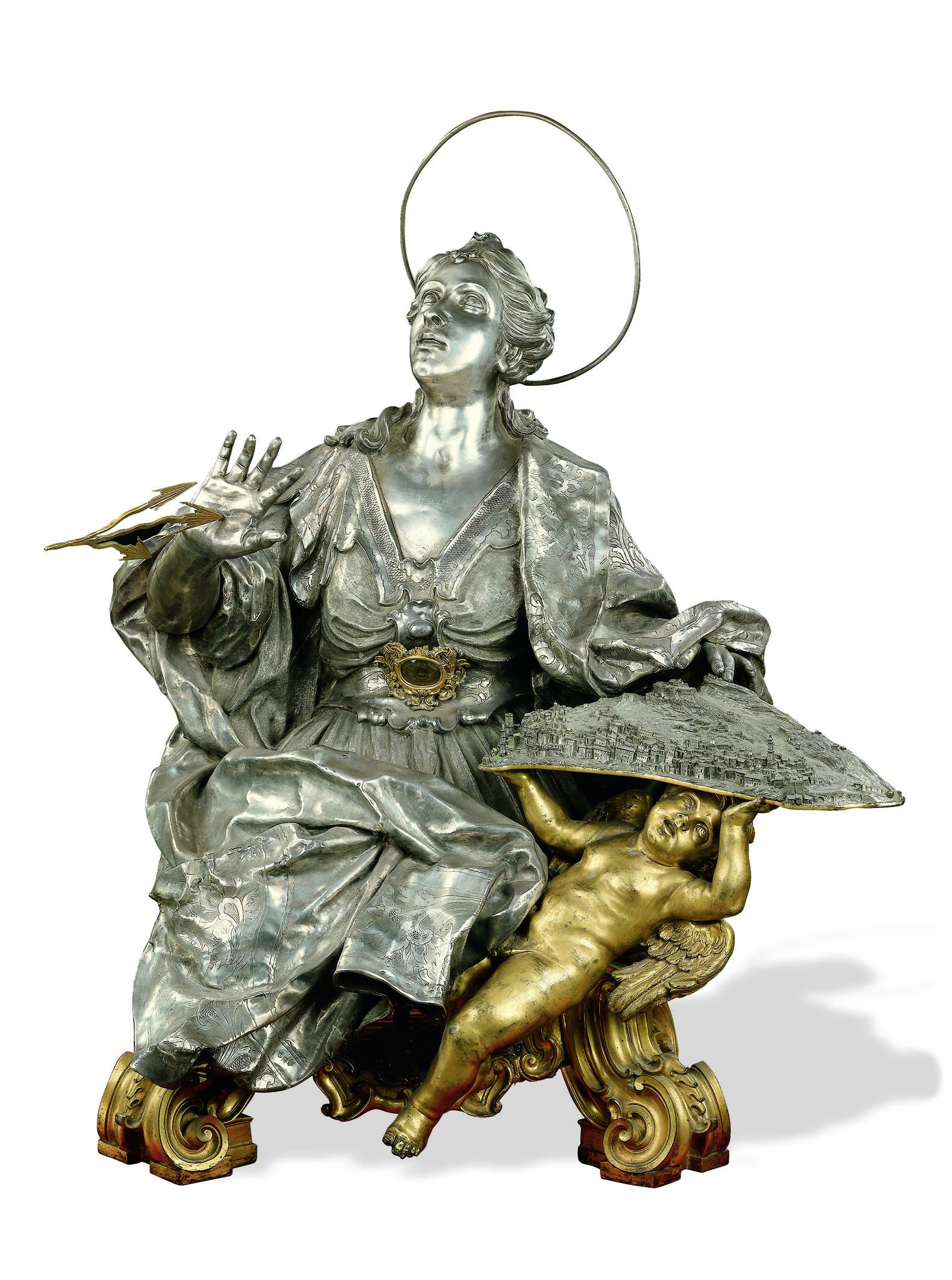 Carlo-Schisano-SantIrene-1733-argento-fuso-e-cesellato-rame-dorato