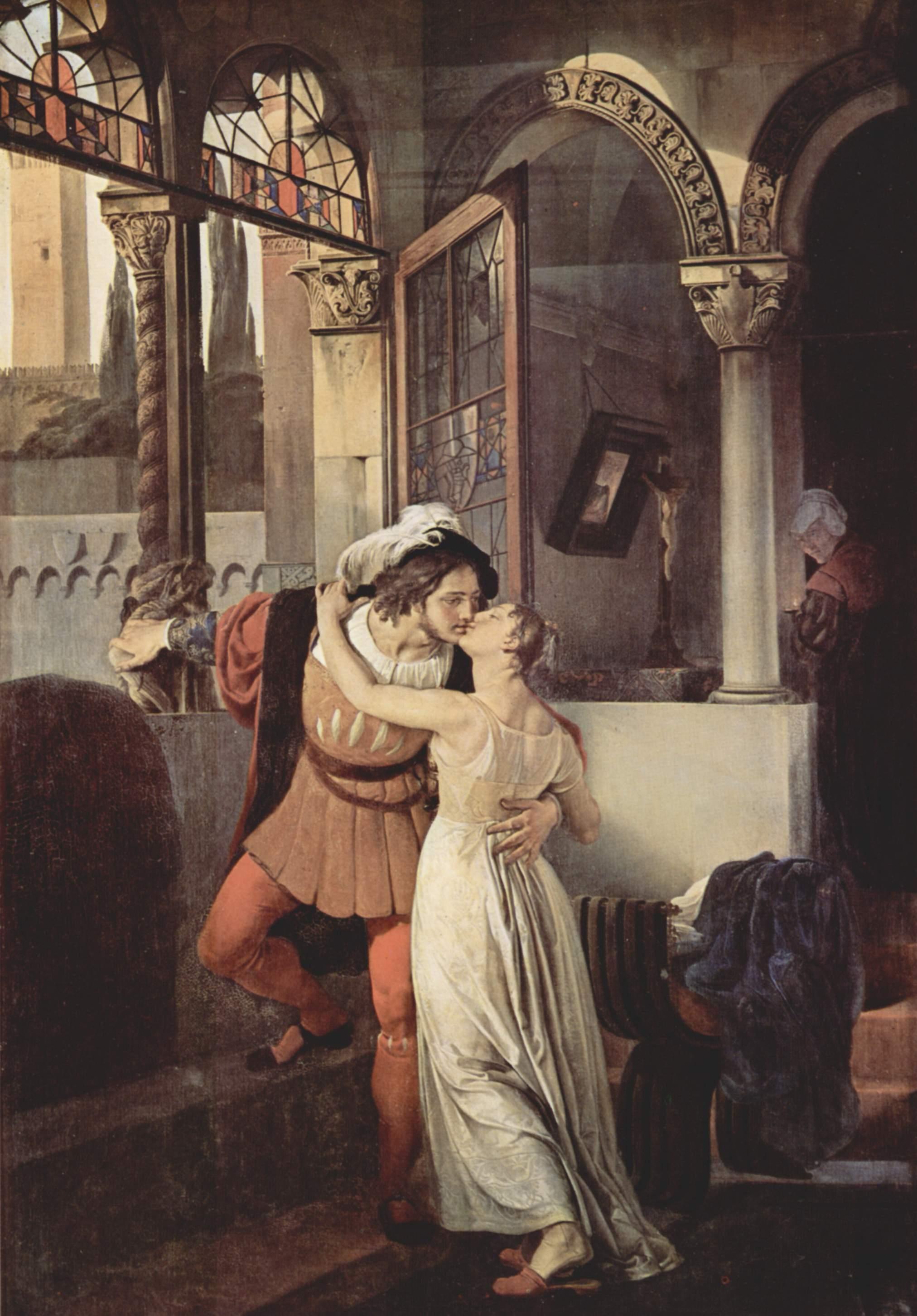 Francesco Hayez, L'ultimo bacio, 1823. L'opera rappresenta Romeo e Giulietta ed ha ispirato scenograficamente il film del 1936