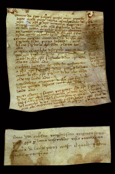I cartigli contenuti nel crocifisso di Lando di Pietro